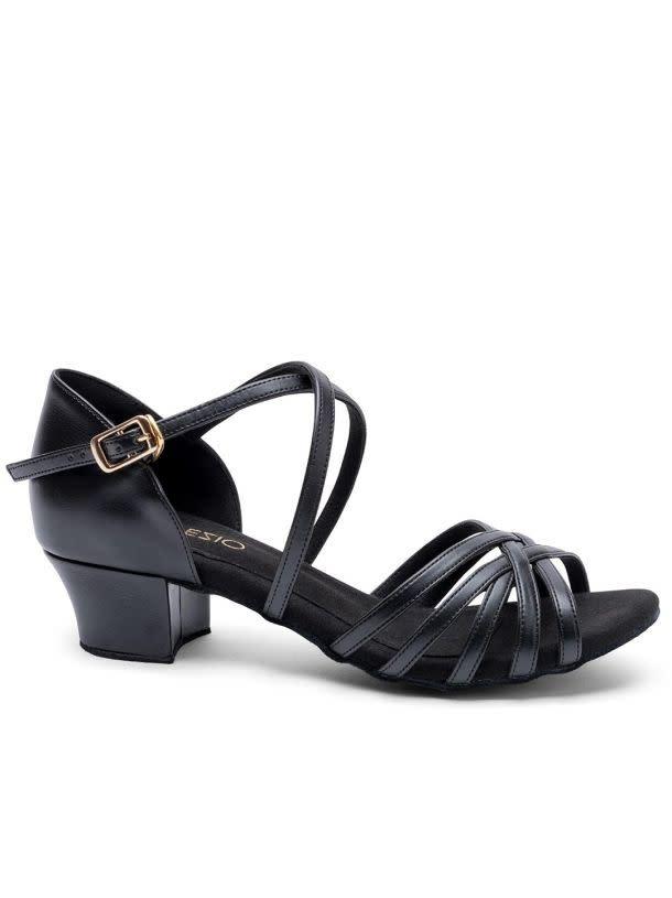 "Capezio REBECCA-BR4011W-Ballroom Shoes Cuban Heel 1.5"" Suede Sole Leather-BLACK"