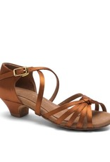Capezio SYLVIA-BR4001C-Child Ballroom Shoes 1.5'' Suede Sole Satin-CINNAMON