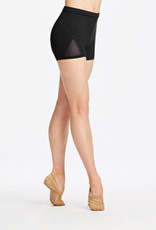 Capezio 11286W-Triangular Mesh Panels Short-BLACK