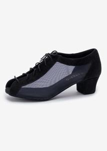 Capezio BEATRICE-BR4012W-Ballroom Shoes Suede Sole 1.5'' Cuban Heel Mesh / Suede-BLACK
