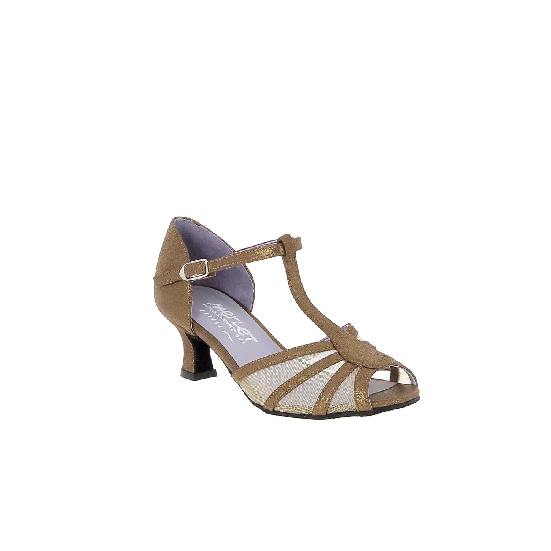 Merlet KARMINA-1447-130--Ballroom Shoes 2'' Suede Sole Velvet Leather Metallic-BRONZE