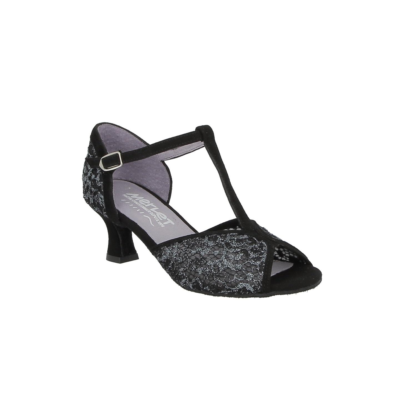 Merlet KATEA-1471-001-Ballroom Shoes 2'' Suede Sole Velvet Leather/Mesh-BLACK/SPARKLE