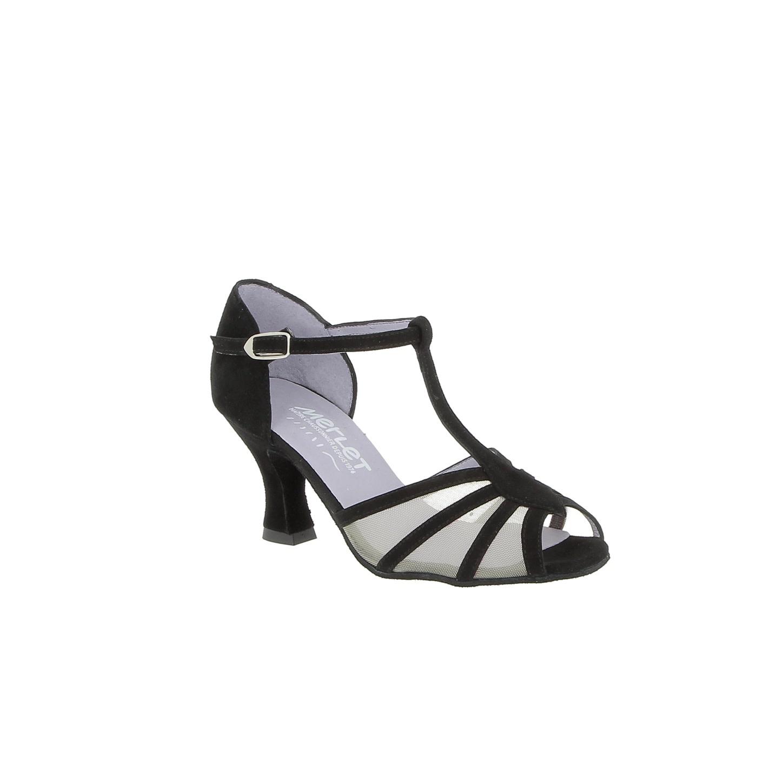 "Merlet JASMINE-1404-001-Ballroom Shoes 2.5"" Suede Sole Velvet Leather-BLACK"