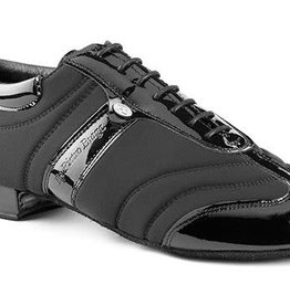 "Portdance PD PIETRO BRAGA-Ballroom Men Shoes 1"" Suede Sole Leather /Lycra-BLACK / PATENT"