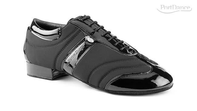 "Portdance PD PIETRO BRAGA-Ballroom Men Shoes 1"" Suede Sole Leather /Lycra-BLACK / PATENT"