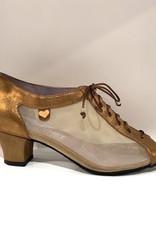 """Merlet  PARMA-1447-130-Ballroom Shoes 1.7"""" Suede Sole Velvet Metallic-BRONZE"""