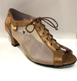 "Merlet PARMA-1447-130-Ballroom Shoes 1.7"" Suede Sole Velvet Metallic-BRONZE"