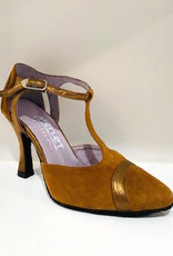 "Merlet LUNA-1404-130-Ballroom Shoes 3"" Suede Sole Velvet Leather-TAUPE"