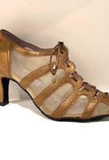 "Merlet SYA-1447-130-Ballroom Shoes 2.5"" Suede Sole Velvet Leather Metallic-BRONZE"