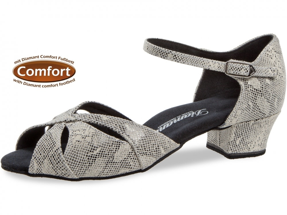 Diamant 144-103-417-Ballroom Shoes 1.2'' Suede Sole Suede Reptile Print-CREAM