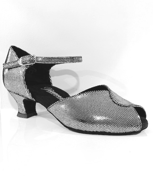 "Diamant 001-011-138-Ballroom Shoes 1.5"" Suede Sole Puntino Leather-BLACK / SILVER"