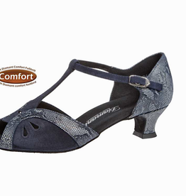 "Diamant 019-011-534-Ballroom Shoes 1.5"" Suede Sole-Suede-Reptile Print-NAVY"
