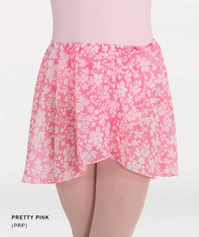 BodyWrappers 138-Child Chiffon Print Skirt-PRETTY PINK