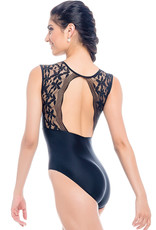 SoDanca RDE-2023-Tank Leotard With Lace Open Back-BLACK