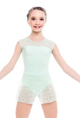 SoDanca L1903-Child Cap Sleeve Leotard With Lace-BLACK