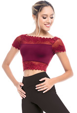 SoDanca RDE-1971-Cap Sleeve Top With Lace