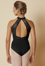 Mirella M8024LM-High Neckline Open Wrap Back Lace Leotard
