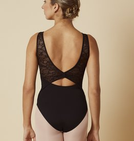 Mirella M3038LM-Paneled Neckline Open Back Lace Mesh Tank Leotard-BLACK