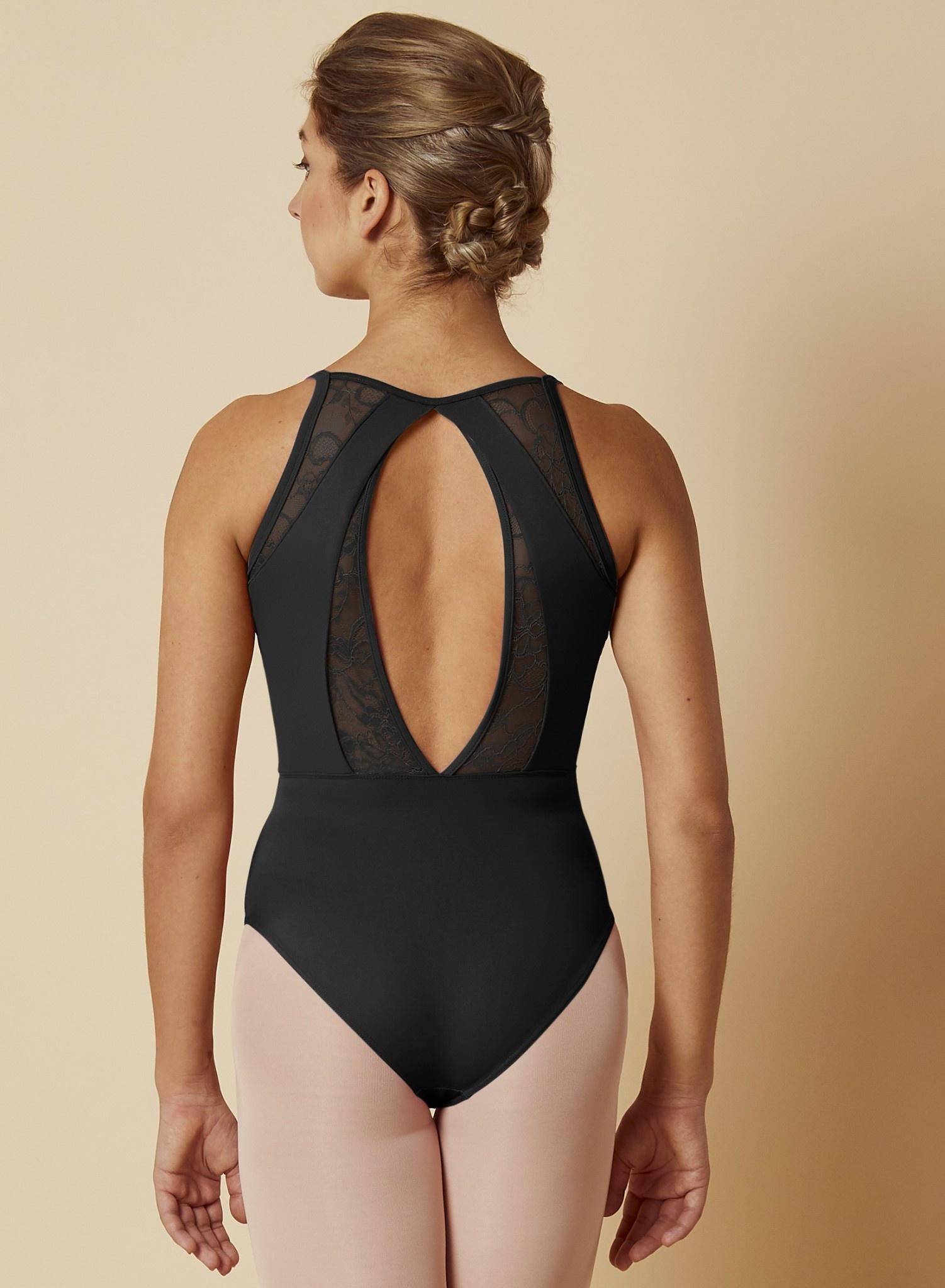 Mirella M2169LM-High Neckline Open Back Lace Cami Leotard-BLACK