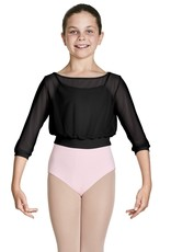 Bloch CZ8106-Tazanna 3/4 Sleeve Mesh Top-BLACK-4-6