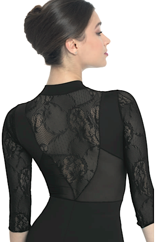 Intermezzo 31567-3/4 Sleeve Zip Front Lace Insert-BLACK