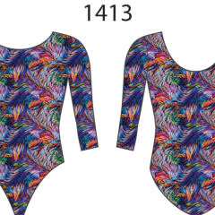 MotionWear 1413-499-3/4 Sleeve Gym Leo-LIGHT STREAK