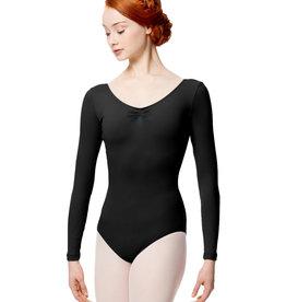 Lulli Dancewear LUB279-Gathered Front and Back Long Sleeve Leotard-BLACK