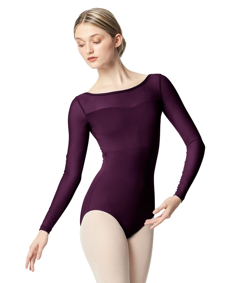 Lulli Dancewear LUB347-Lada Women Yoke Mesh Long Sleeve Leotard