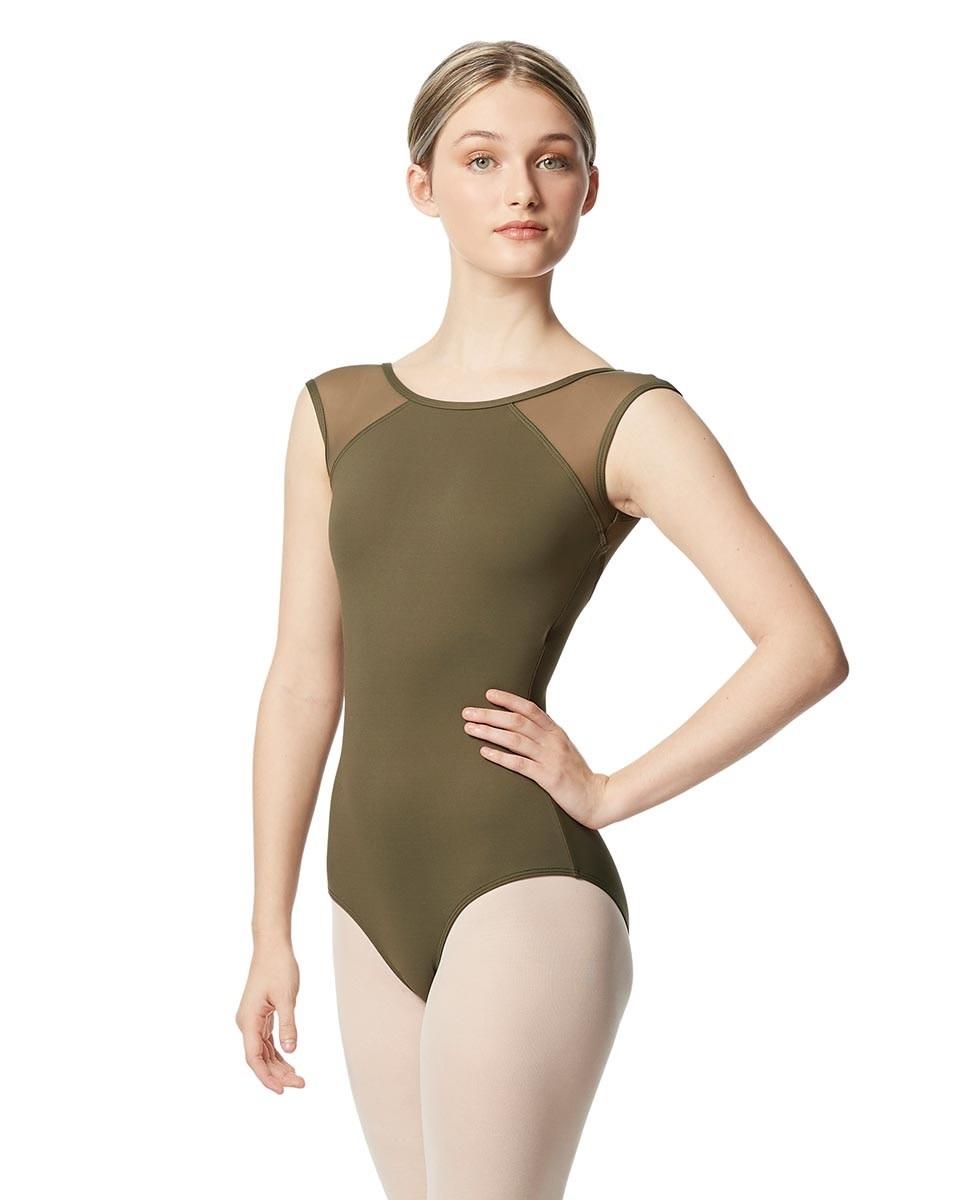 Lulli Dancewear LUB348-Nikita Women Yoke Mesh Cap Sleeve Leotard