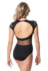 Lulli Dancewear LUF652-Orlina Lace Mesh Cap sleeve Leotard-BLACK