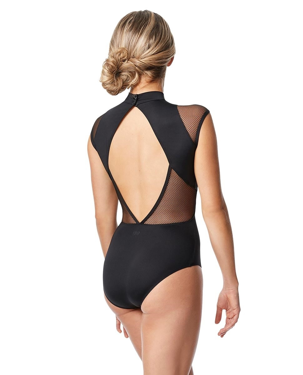 Lulli Dancewear LUF653-Coretta Cap sleeve Dance Leotard-BLACK