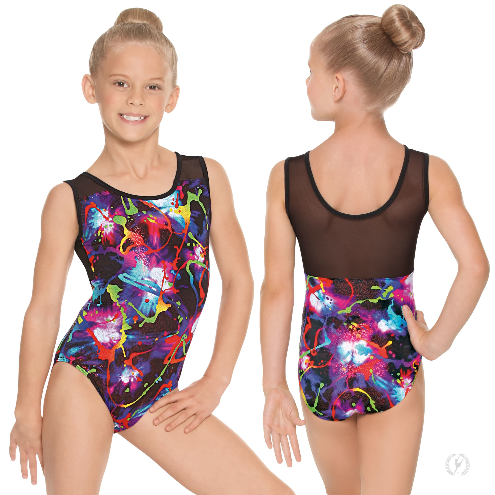 Eurotard 75586C-Metallic Graffiti Mesh Back Gym Leotard