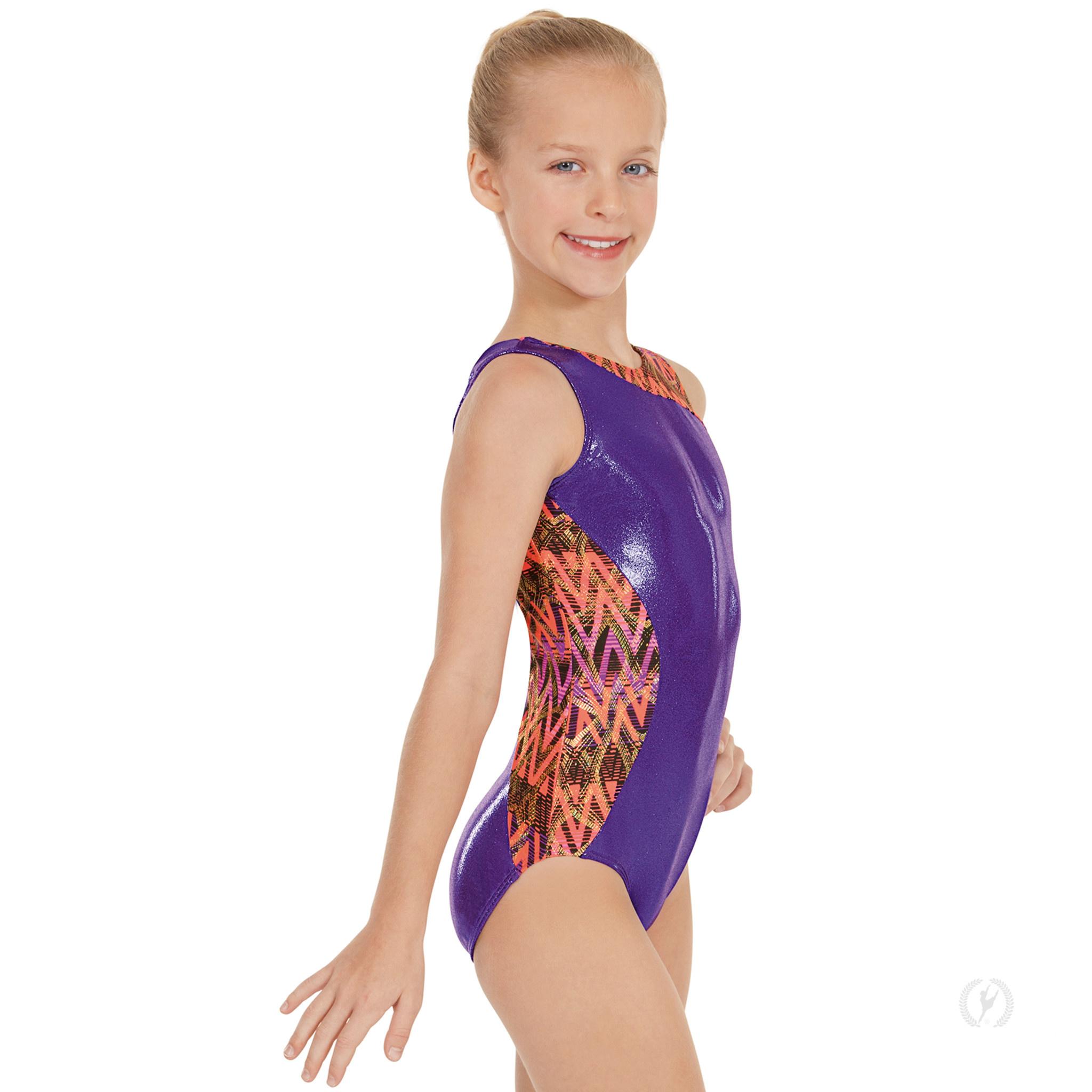 Eurotard 58462-Leotard de Gymnastique à Panneau Imprimé Métallisé