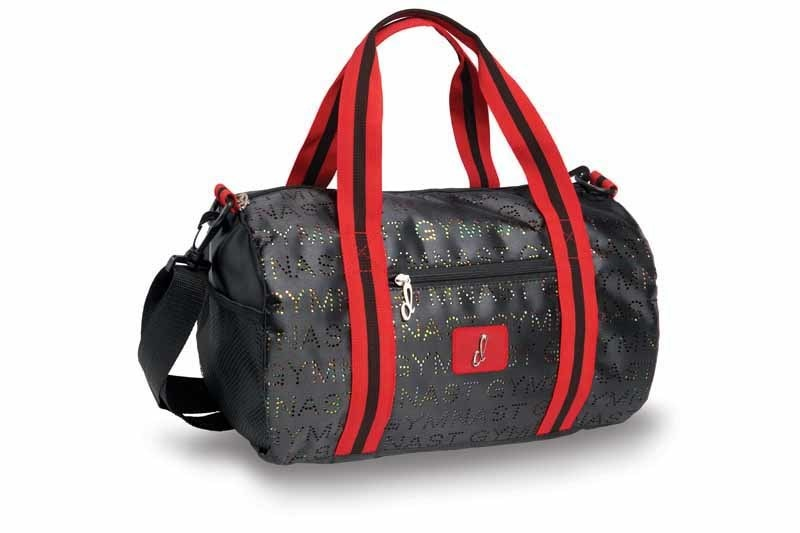 Danshuz B20528-Punch Hole Glitter Gymnast Duffel-BLACK/RED