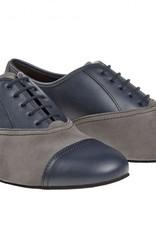 "Diamant 077-025-455-Men Ballroom Shoes 1"" Suede Sole Leather/Suede-NAVY/GREY"