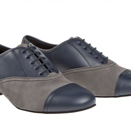 "Diamant 077-025-455-Men Ballroom Shoes 1"" Suede Sole Leather/Suede-NAVY/GREY"