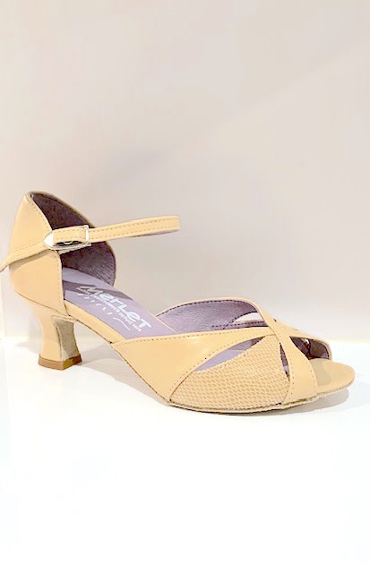 Merlet KALIS-1300-112-Ballroom Shoes 2'' Suede Sole Metis Leather- CACHEMIRE