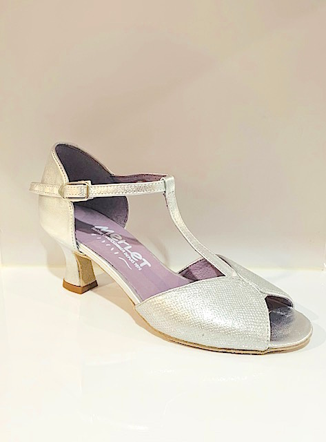 "Merlet KATE-1473-817-Ballroom Shoes 2."" Suede Sole Leather Cristalle-SILVER"