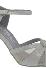 "Merlet MOLENE-1337-900-Ballroom Shoes 3"" Suede Sole Putini Leather-SILVER"