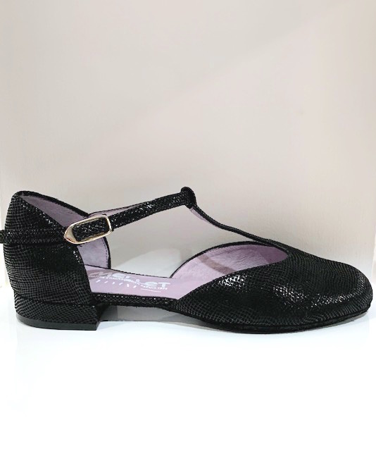 "Merlet XIA-1388-001-Ballroom Shoes 1/2"" Suede Sole Canula Leather-BLACK"