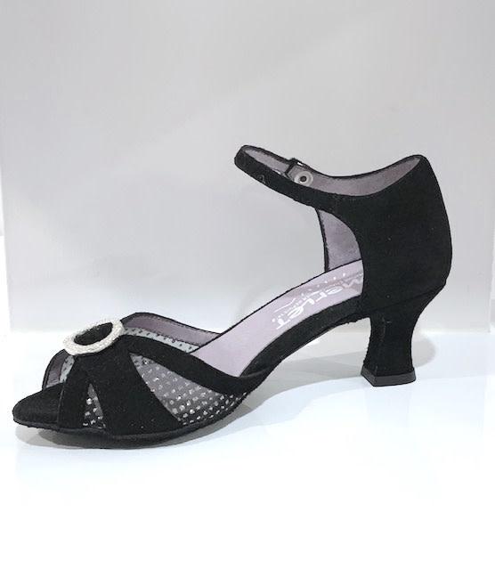 Merlet KOLENE1-1404-001-Ballroom Shoes 2'' Suede Sole Velvet Leather-BLACK