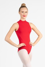 Capezio SE1025W-Mock Turtleneck Leotard Princess Seams Open Back-BLACK