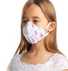 SoDanca L2177-Masque Facial Enfant Imprimé Ballerine Avec Courroies d'oreille - TAILLE UNIQUE