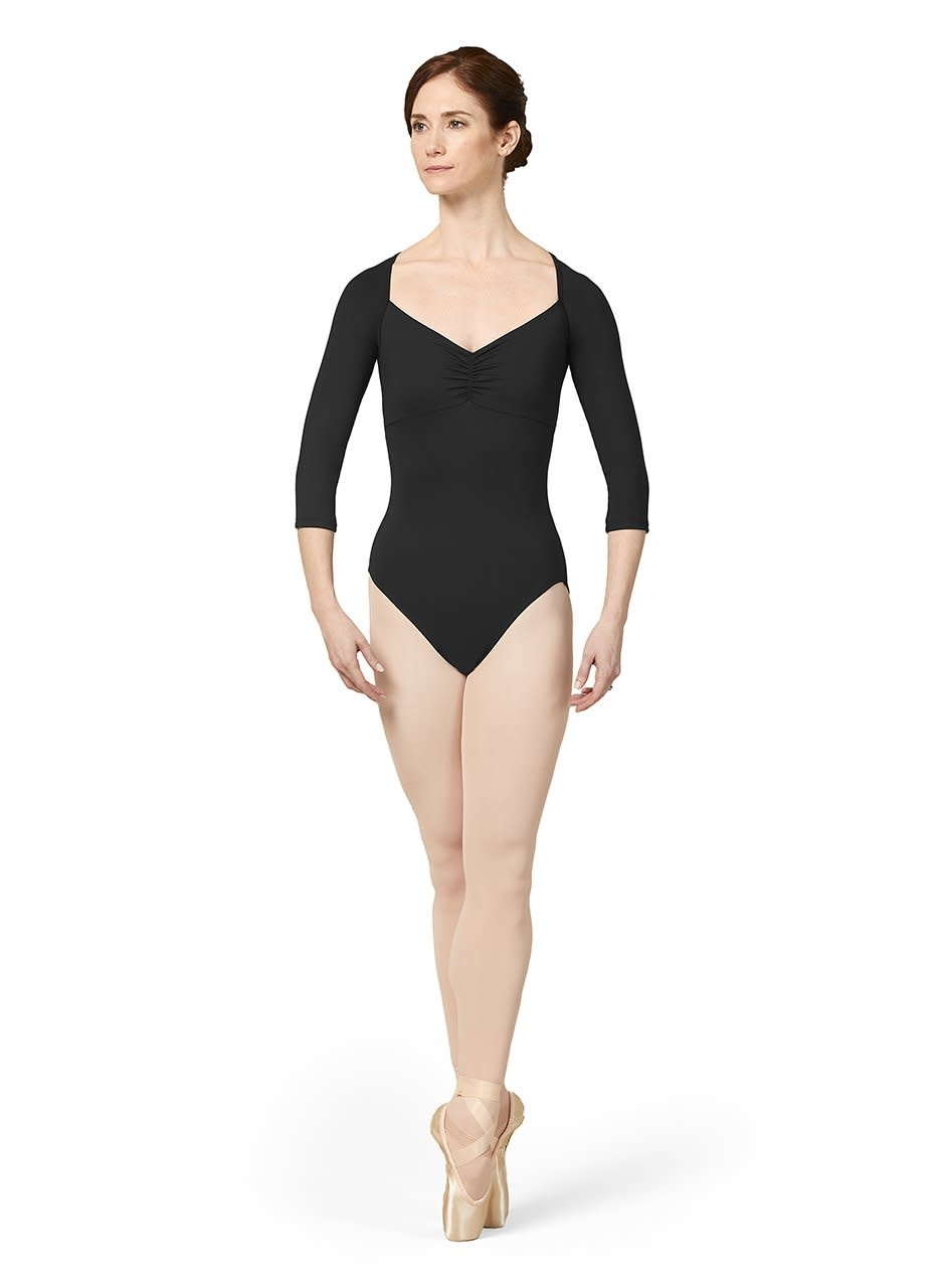 Mirella M1016LM-Gathered Mesh Back 3/4 Sleeve Leotard-BLACK