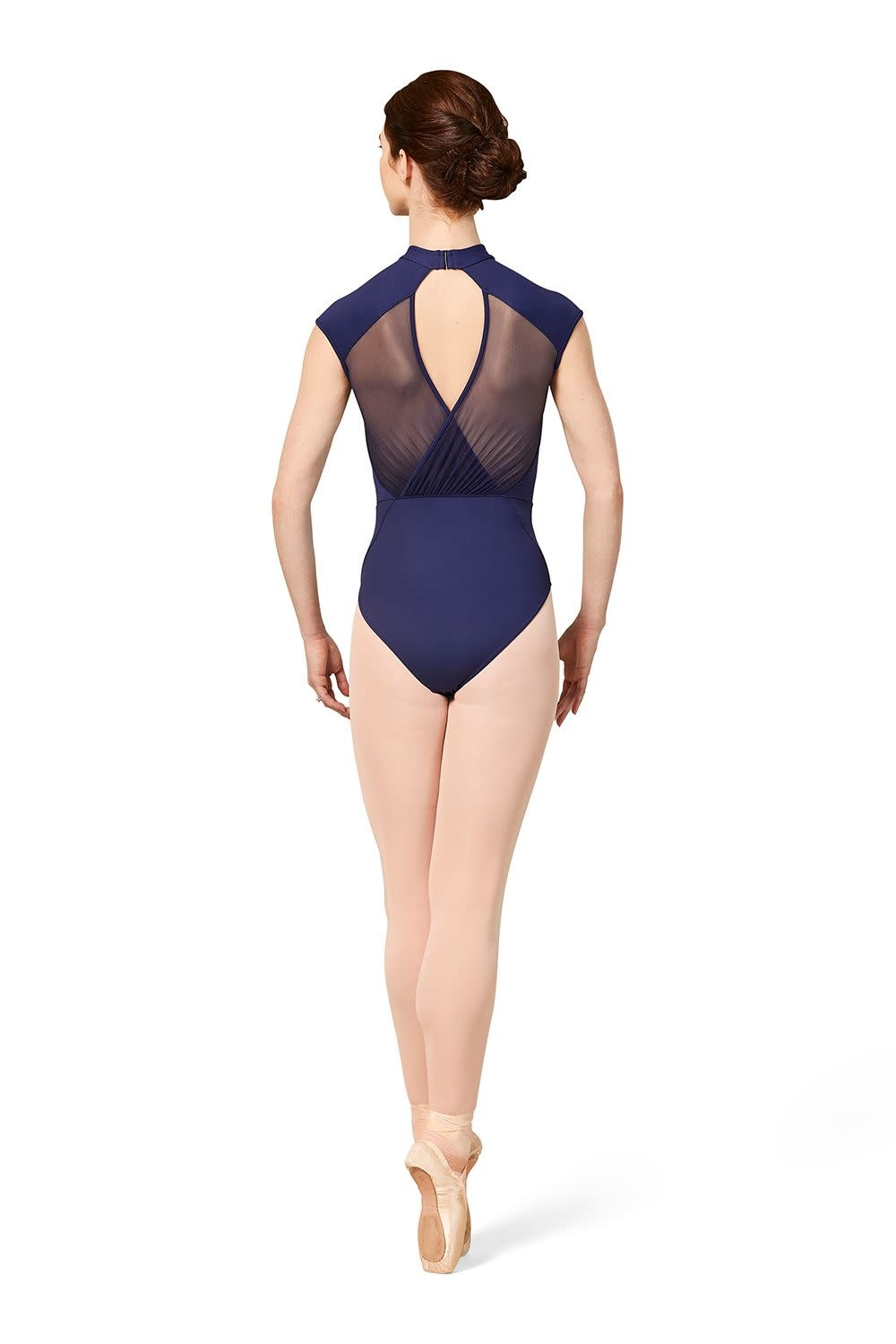 Mirella M5091LM-High Neck Gathered mesh Cap Sleeve Leotard