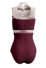 Dancewear Royale NEFERTITI-Maillot Sur Mesure séparés par Une Insertion et Dos de Mesh Se Ferme Avec Une Boucle En Mesh
