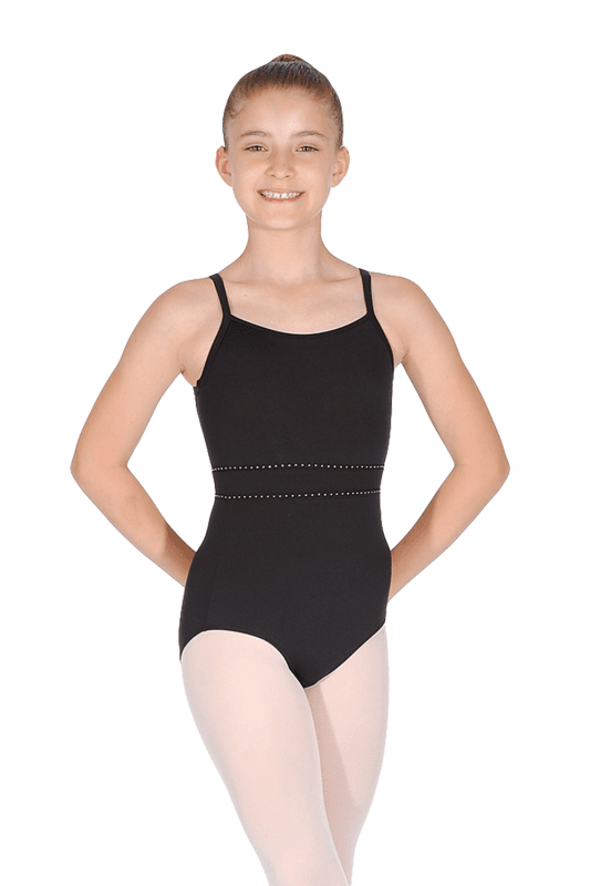 Bloch CL4997-Ryli Diamante Trim Waist Mesh Back Cami Leotard-BLACK
