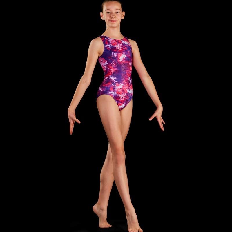 Leo DanceWear GB191C-Girl Gym Tank Leotard-ROSE REFLECTIONS