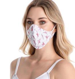 SoDanca RDE2176-Masque Facial Adulte Imprimé Ballerine Avec Courroies d'oreille - TAILLE UNIQUE