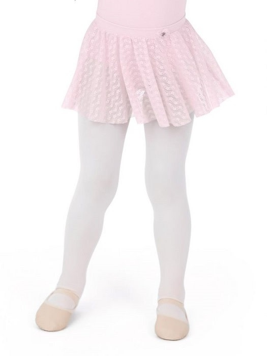 Capezio 11685C-Pull On Skirt Floral Lace Mesh-PINK